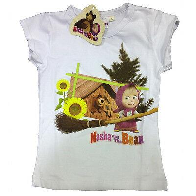 Maglietta T-shirt MASHA E ORSO in cotone bianco stampato varie taglie da bambino