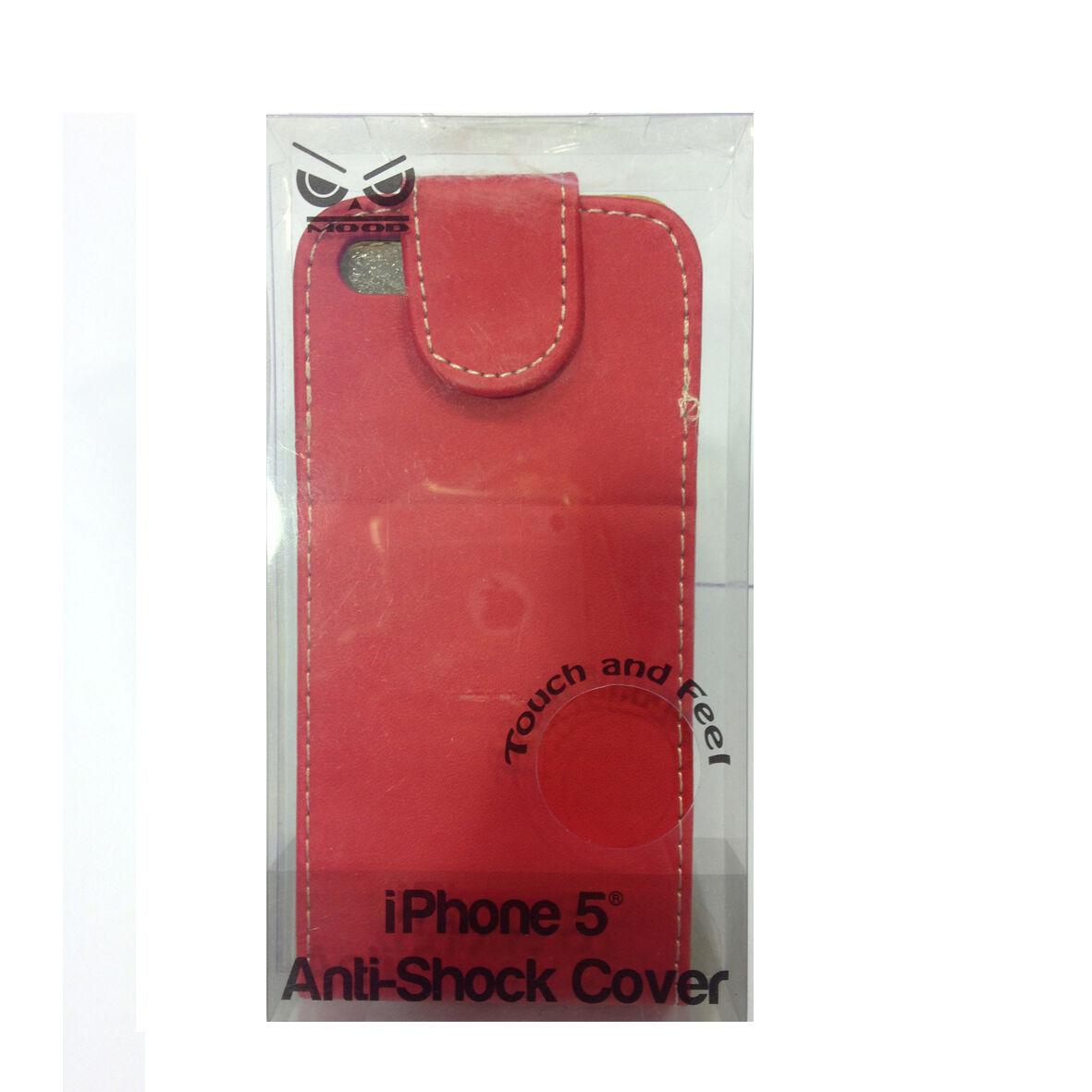 COVER mascherina iphone 5/5S rossa a portafoglio in eco-pelle MOOD