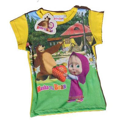 Maglietta T-shirt MASHA E ORSO in cotone giallo stampato varie taglie da bambino
