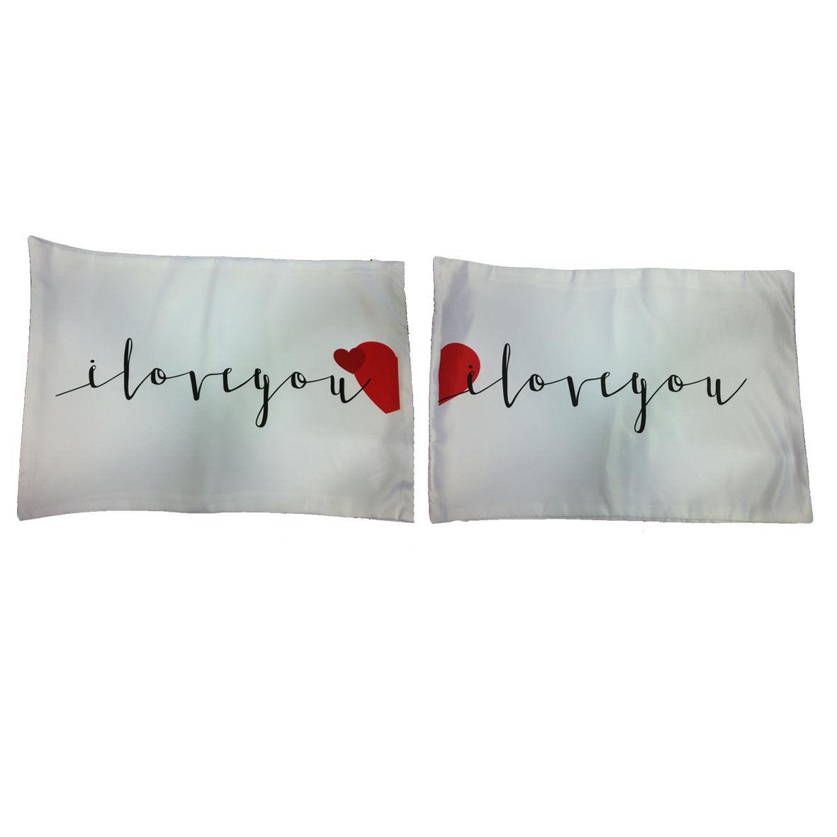 AMORE coppia di federe TI AMO..TI AMO DI PIU' 75x51 cm idea regalo San Valentino