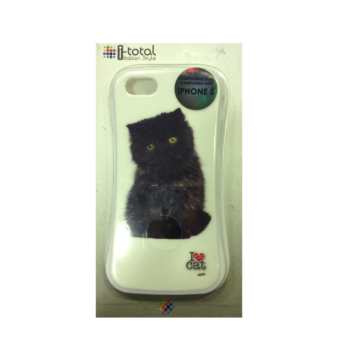 COVER mascherina iphone 5/5S bianca gatto nero rigida in ABS I-TOTAL