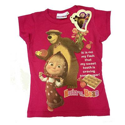 Maglietta T-shirt MASHA E ORSO in cotone fucsia con stampa varie taglie da bambi