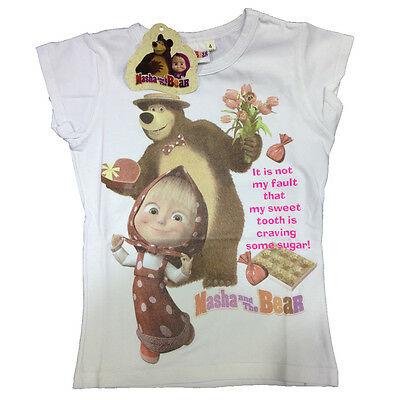 Maglietta T-shirt MASHA E ORSO in cotone bianco varie taglie da bambino/a
