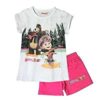 Pigiama MASHA E ORSO bianco e fucsia t-shirt + pantaloncino corto in cotone