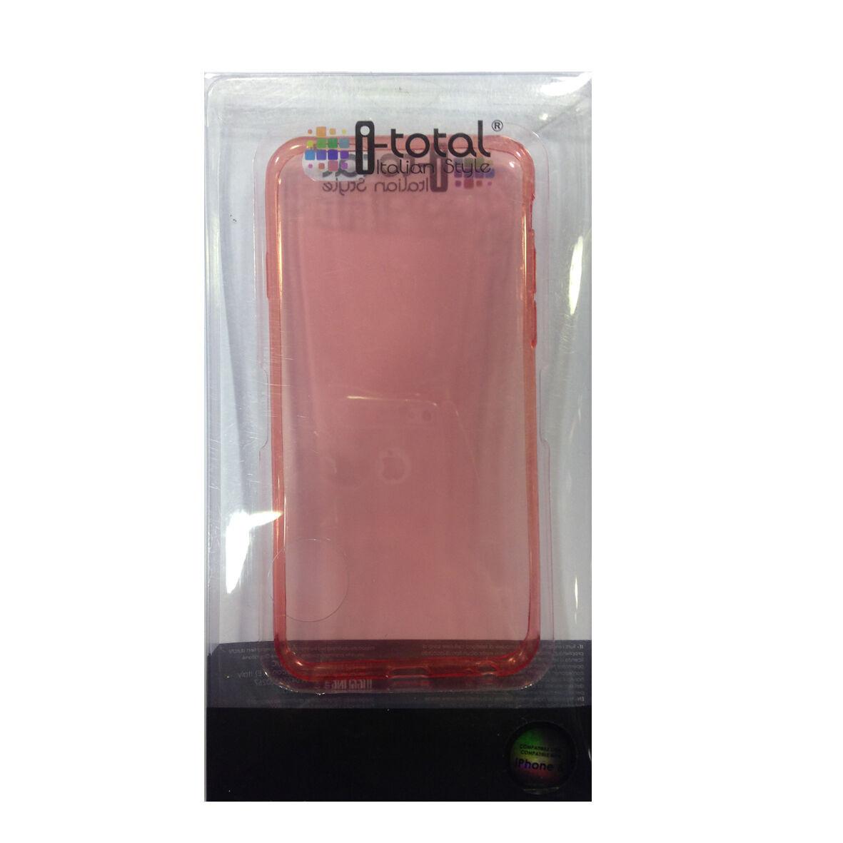 COVER mascherina iphone 6 trasparente rossa in silicone TPU I-TOTAL