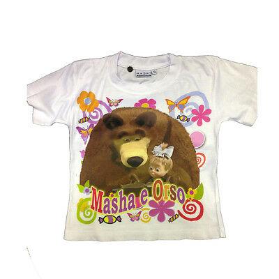 Maglietta T-shirt MASHA E ORSO bianca con stampa da bambina