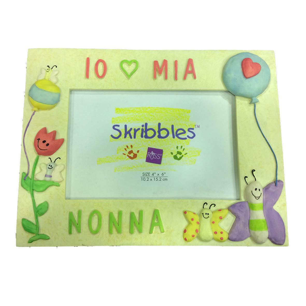 NONNA Cornice in resina beige con farfalle e palloncini IO MIA NONNA 21,5x17 cm