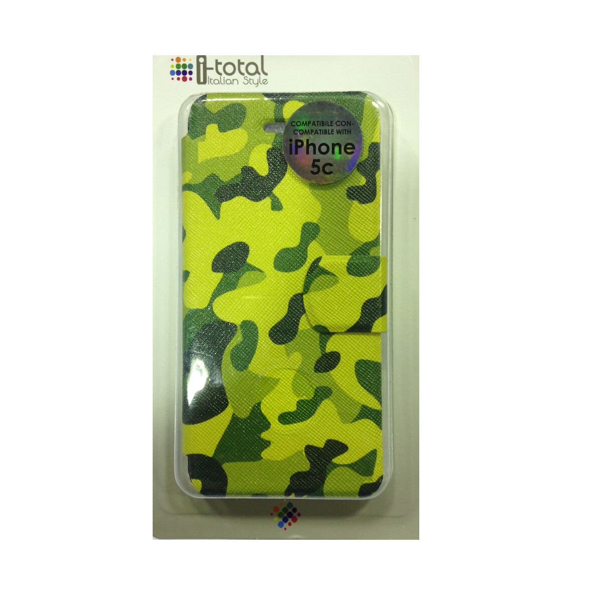 COVER mascherina iphone 5C camouflage verde a portafoglio in eco-pelle I-TOTAL