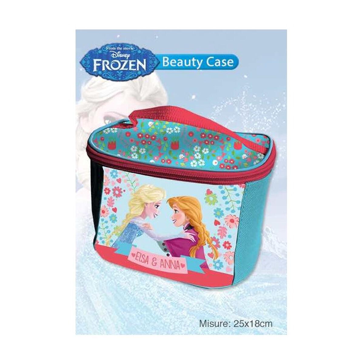 FROZEN borsetta beauty portaoggetti in tessuto con zip azzurro 25x18x11cm