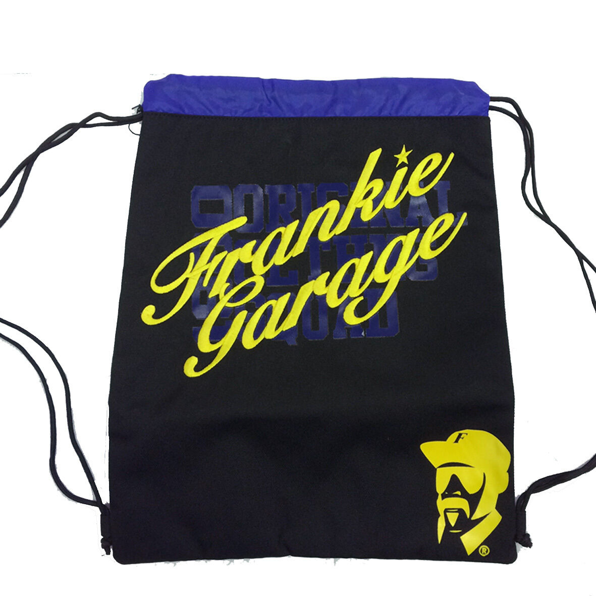 FRANKIE GARAGE Sacca zaino coulisse in cordura pesante nera e blu ricamata 41x33