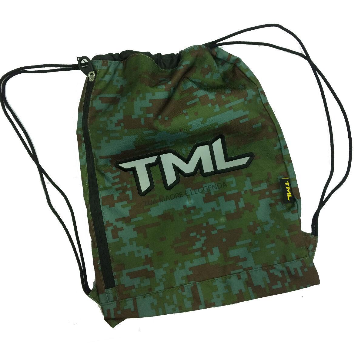 Sacca zainetto coulisse verdone TML TUA MADRE E' LEGGENDA con zip laterale