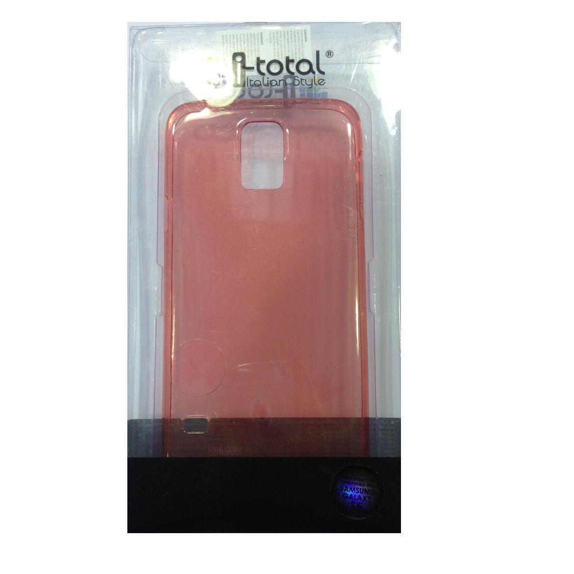 COVER mascherina SAMSUNG GALAXY S5 trasparente rossa in silicone TPU I-TOTAL