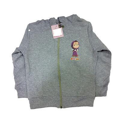 MASHA E ORSO felpa in cotone felpato grigio chiaro da bambina