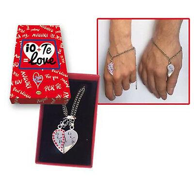 SAN VALENTINO BRACCIALE COPPIA IO+TE=LOVE PER LUI/LEI IDEA REGALO AMORE