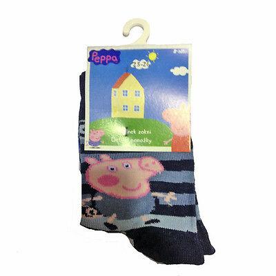 PEPPA PIG Calzini lunghi blu a righe 80%cotone 15%poliammide 5%elastan da bambi
