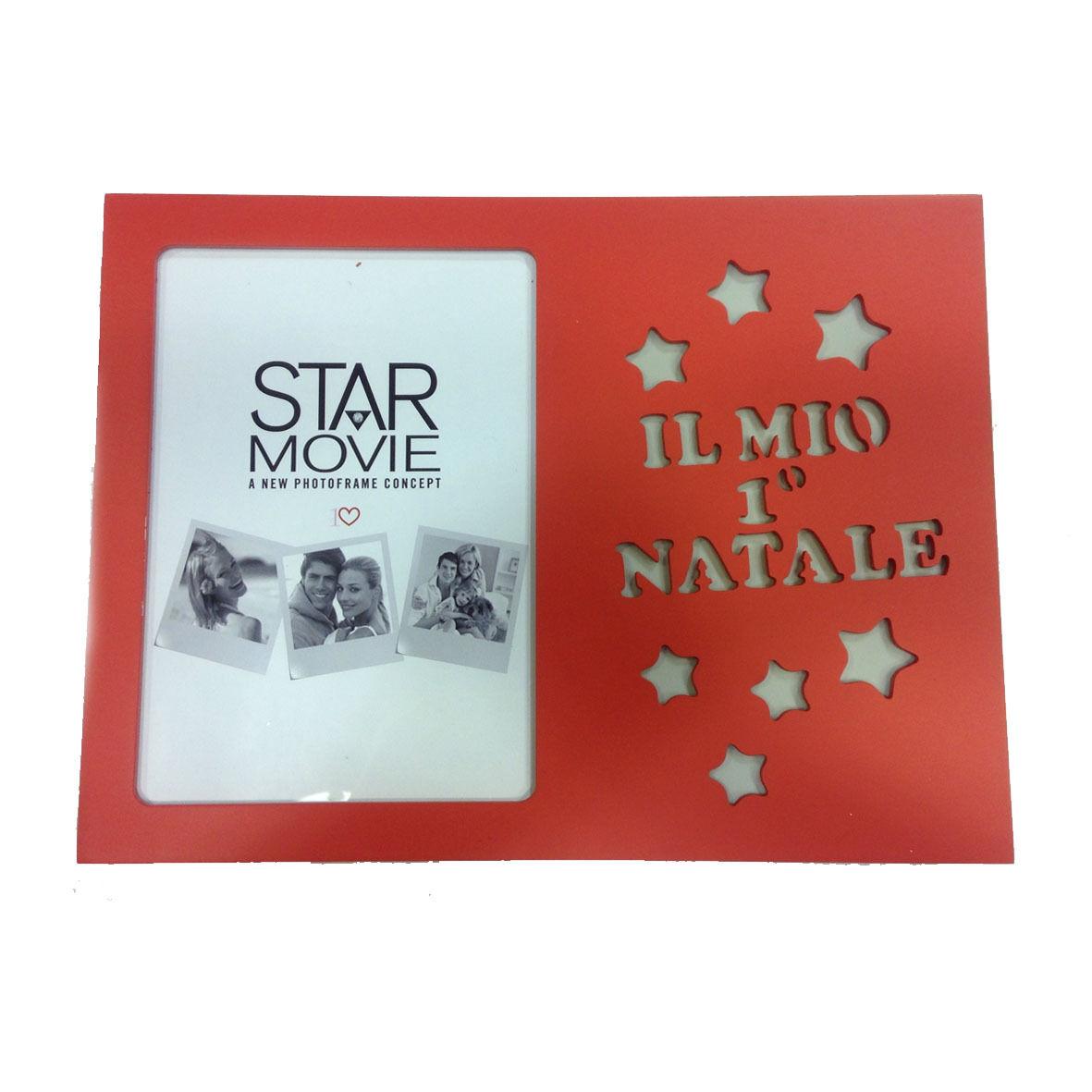 Cornice d'appoggio IL MIO 1°NATALE per bimbo/a in legno rosso 19,5x26,5 cm by VI