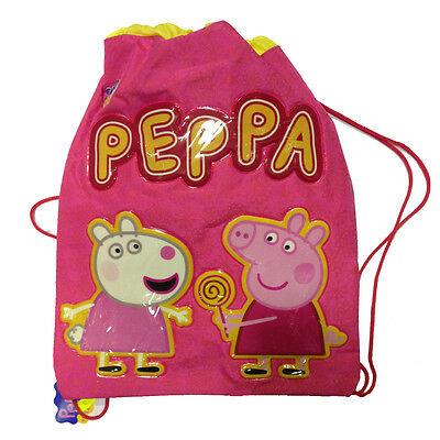 PEPPA PIG zaino coulisse sacca rosa con scritte e disegni rilievo 32,5x41 cm