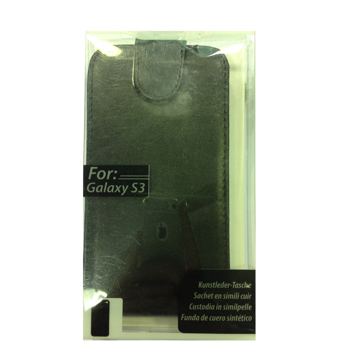 COVER mascherina SAMSUNG GALAXY S3 nero a portafoglio in eco-pelle