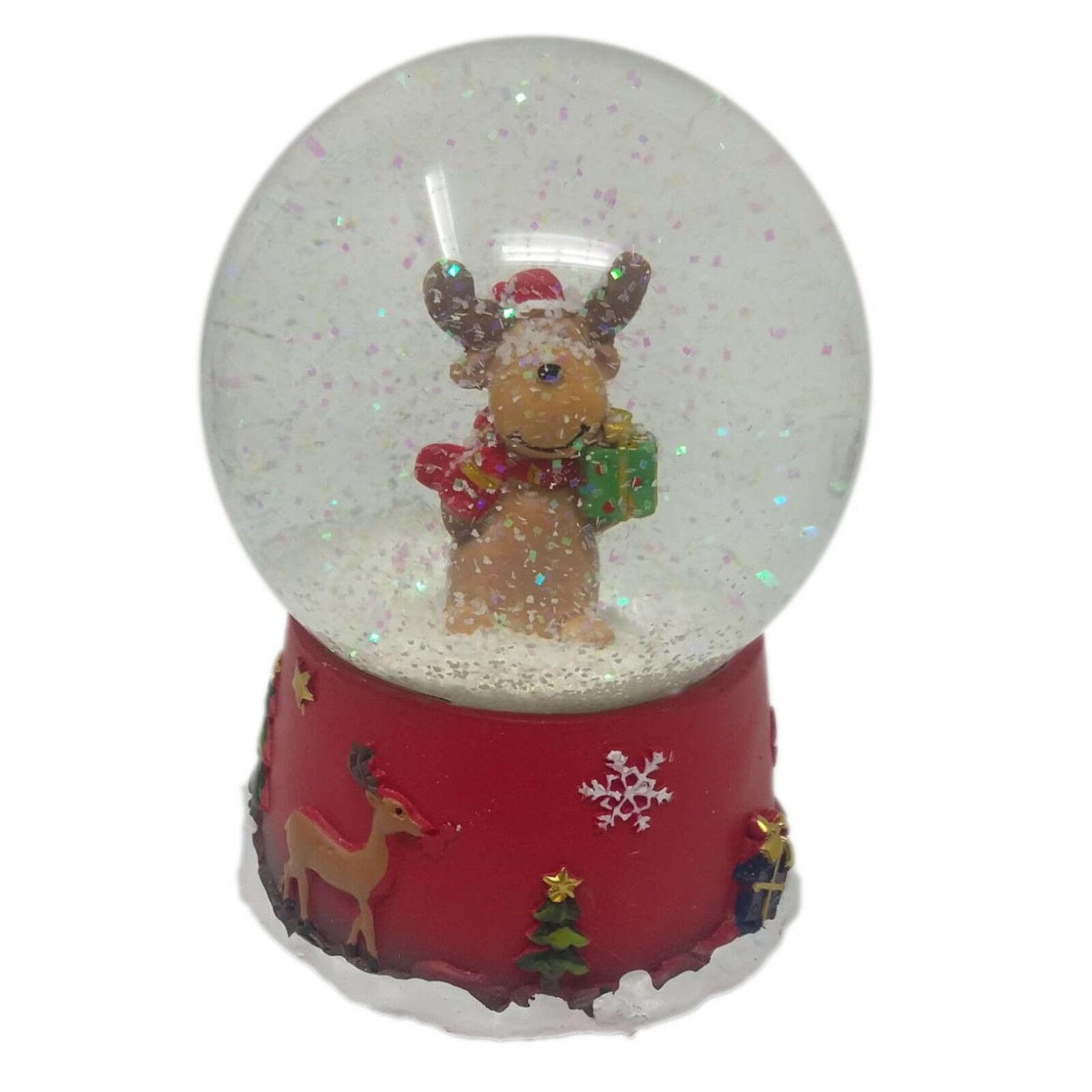 NATALE decorazione natalizia palla di vetro RENNA CARILLON EFFETTO NEVE IN MOVIM