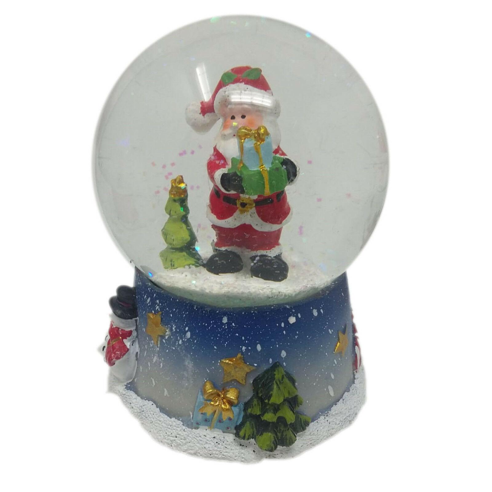 NATALE decorazione natalizia palla di vetro BABBO NATALE CARILLON EFFETTO NEVE