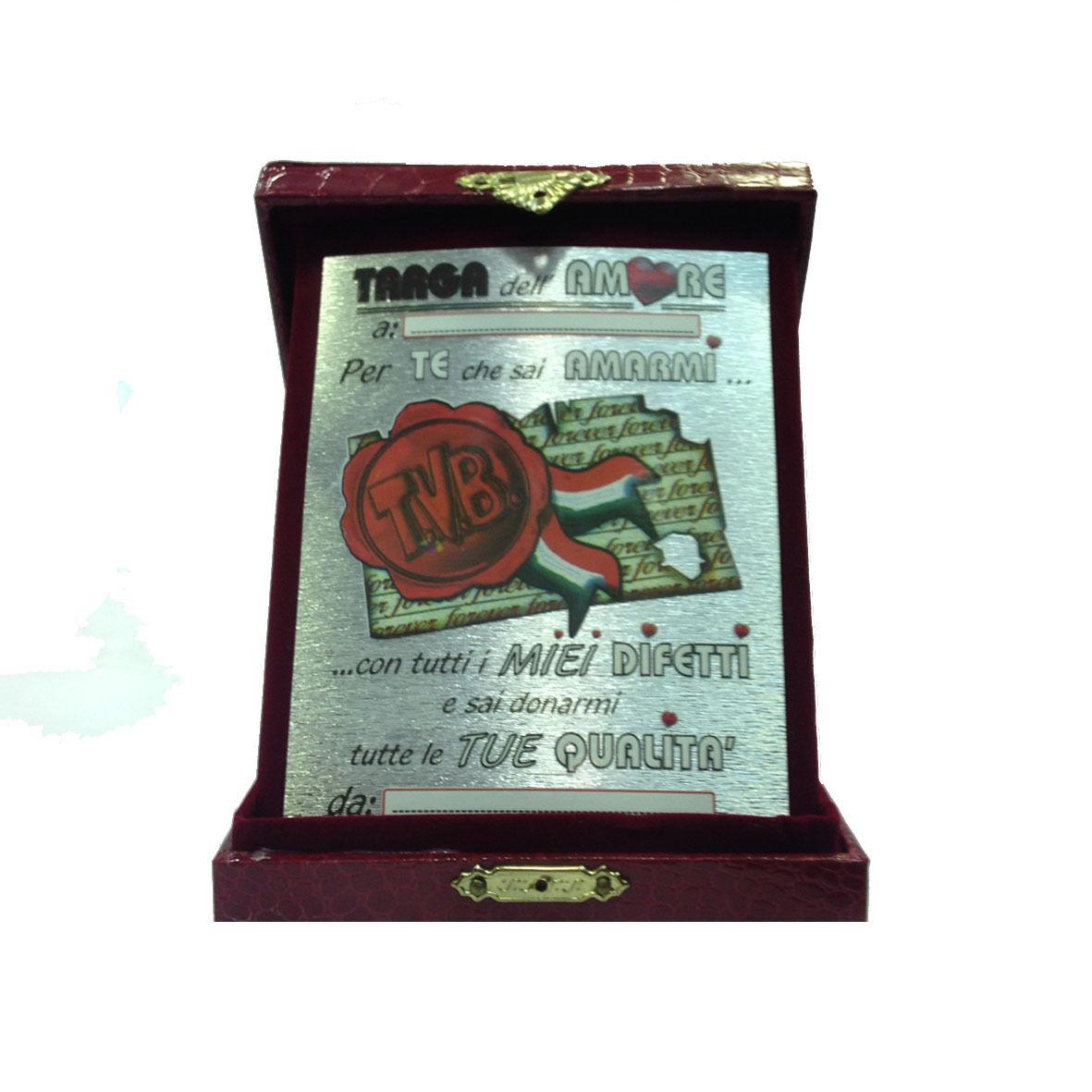 AMORE targa dell'amore personalizzabile con scatola eco-pelle rossa 18x14cm