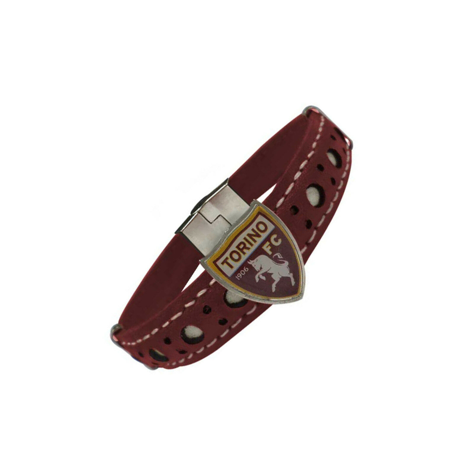 bracciale TORINO FC prod uff pelle GRANATA con stemma e chiusura con magnete