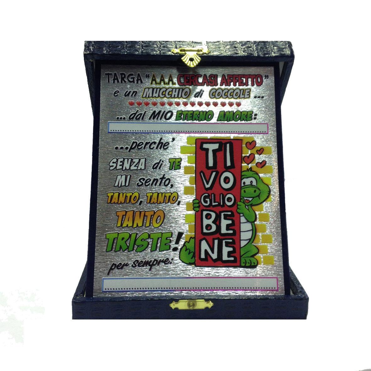AMORE targa AAA CRECASI AFFETTO personalizzabile con scatola eco-pelle blu 18x14
