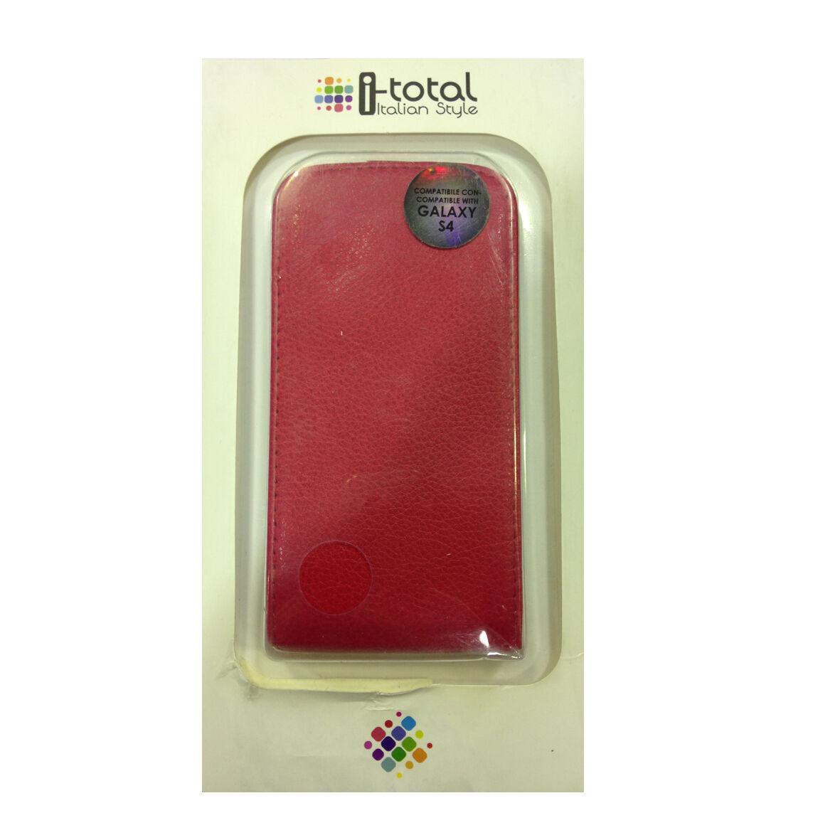 COVER mascherina iphone SAMSUNG GALAXY S4 rossa a portafoglio eco-pelle