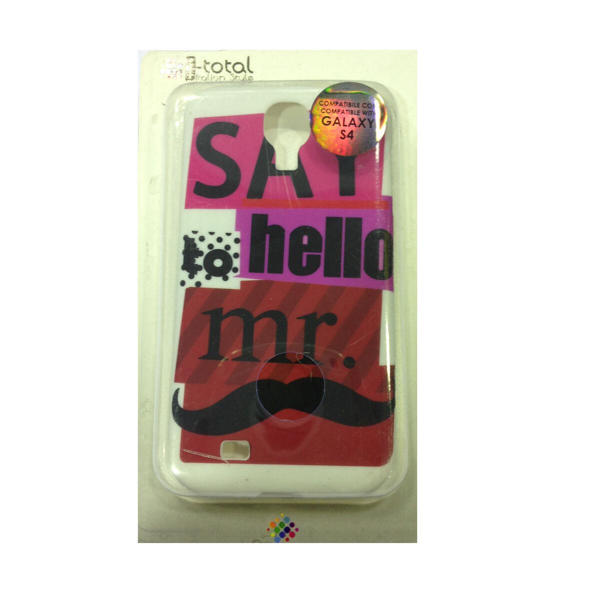 COVER mascherina SAMSUNG GALAXY S4 bianco say hello to mr...in silicone morbida
