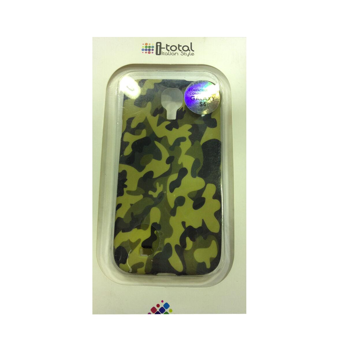 COVER mascherina SAMSUNG GALAXY S4 camouflage verde in silicone morbida I-TOTAL