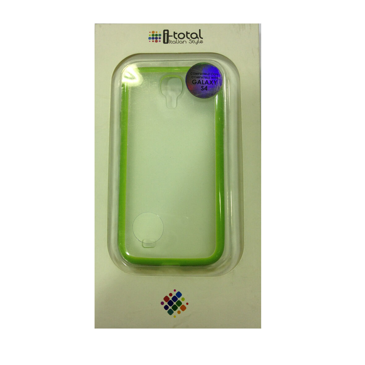 COVER mascherina SAMSUNG GALAXY S4 trasparente con contorno verde rigida I-TOTAL
