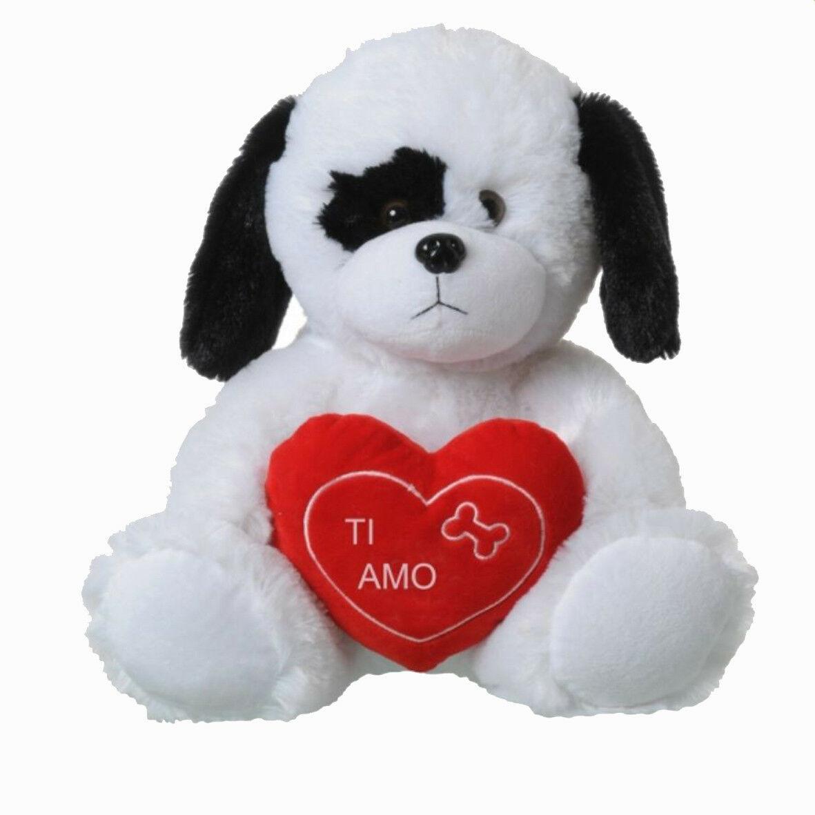 Peluche AMORE cane 30cm seduto con cuore ricamato I LOVE YOU SAN VALENTINO