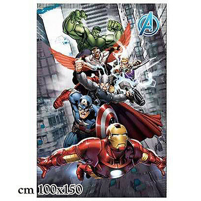 PLAID MORBIDO AVENGERS CAPITAN AMERICA HULK IRON MAIN 100X150 CM