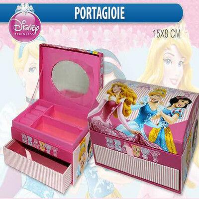 Porta gioie cofanetto in cartone PRINCIPESSE c/specchio scomparti cassetto