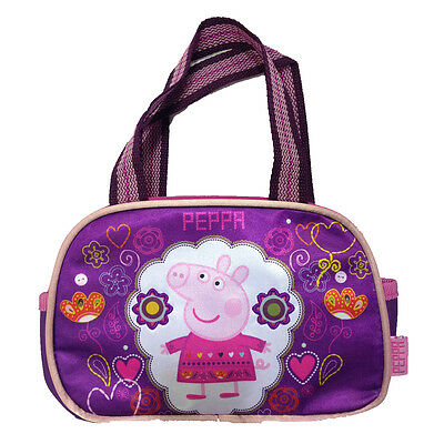 PEPPA PIG borsetta a mano viola e fucsia tasca grande con zip e 2 taschine later