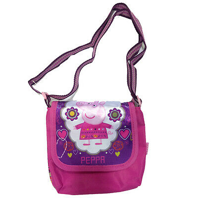 PEPPA PIG borsetta viola e fucsia una tasca con zip e strappo tracolla regolabil