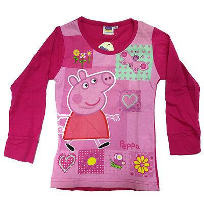 PEPPA PIG maglia fucsia e rosa maniche lunghe in cotone taglia 6 anni da bambina