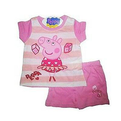 PEPPA PIG pigiama bianco e rosa corto t-shirt+pantaloncino taglia 12 mesi da bam