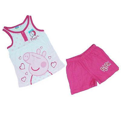 PEPPA PIG pigiama rosa corto canotta+pantaloncino in cotone da bambina