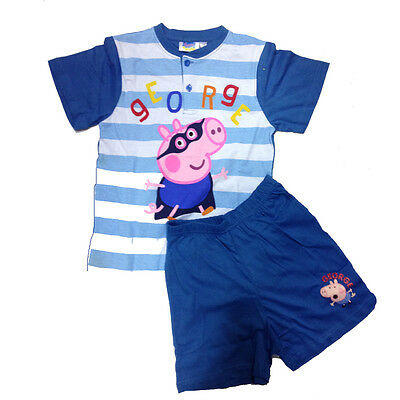 PEPPA PIG pigiama blu a righe corto t-shirt+pantaloncino in cotone da bambino