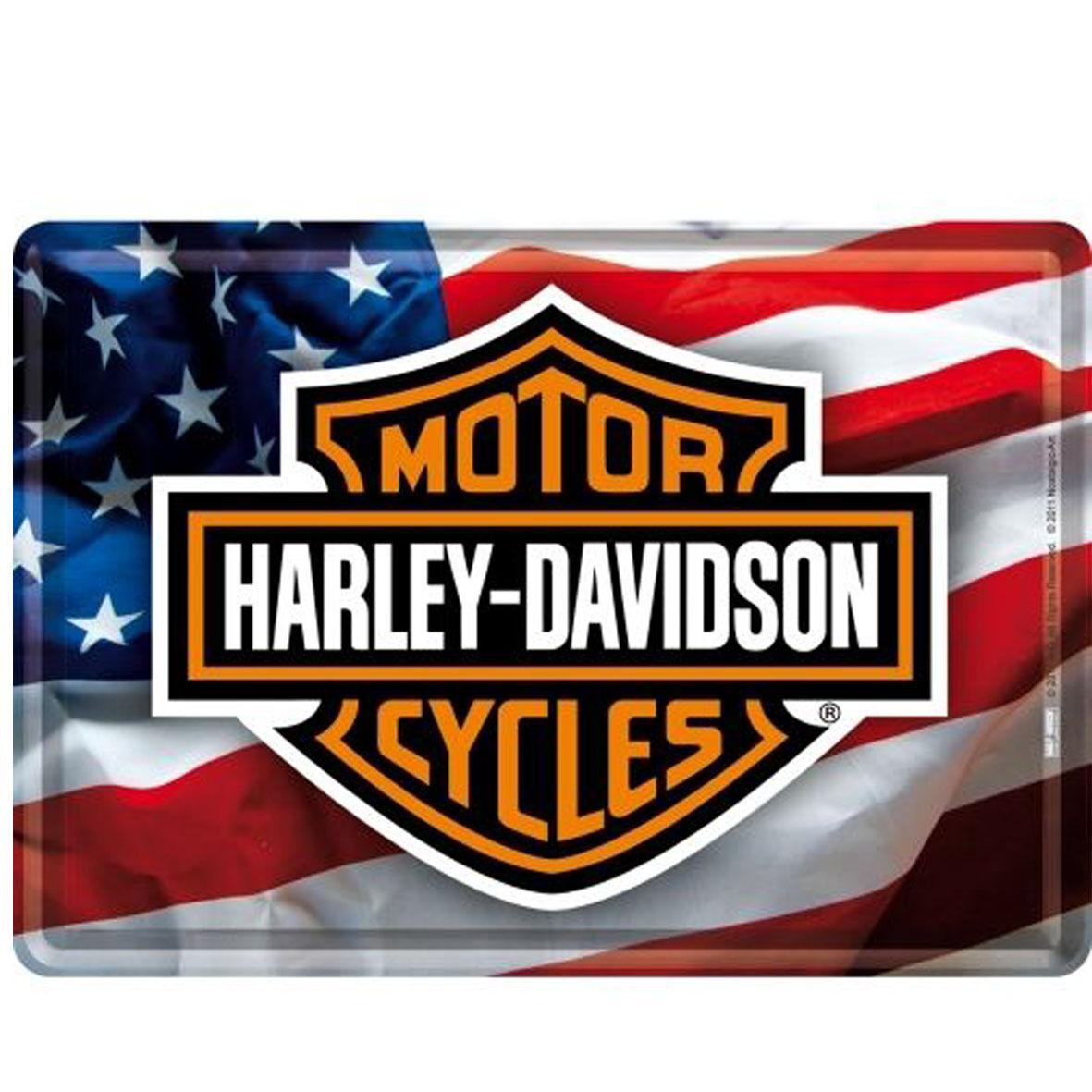 HARLEY DAVIDSON cartolina metal card in latta bandiera USA con stemma 10x14 cm