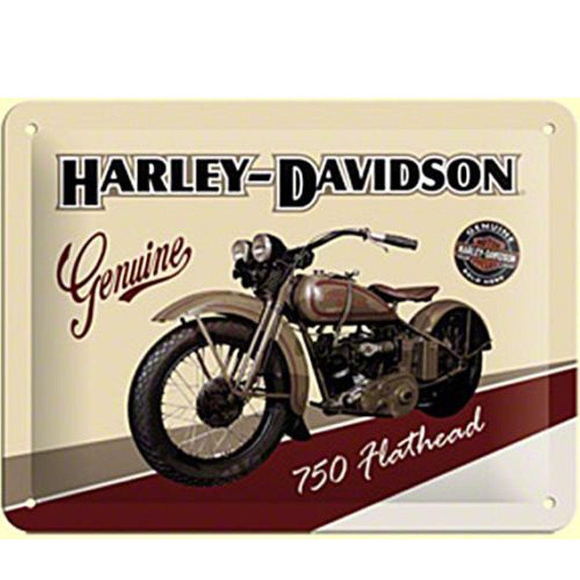 HARLEY DAVIDSON cartolina metal card in latta moto color beige 10x14cm ufficia