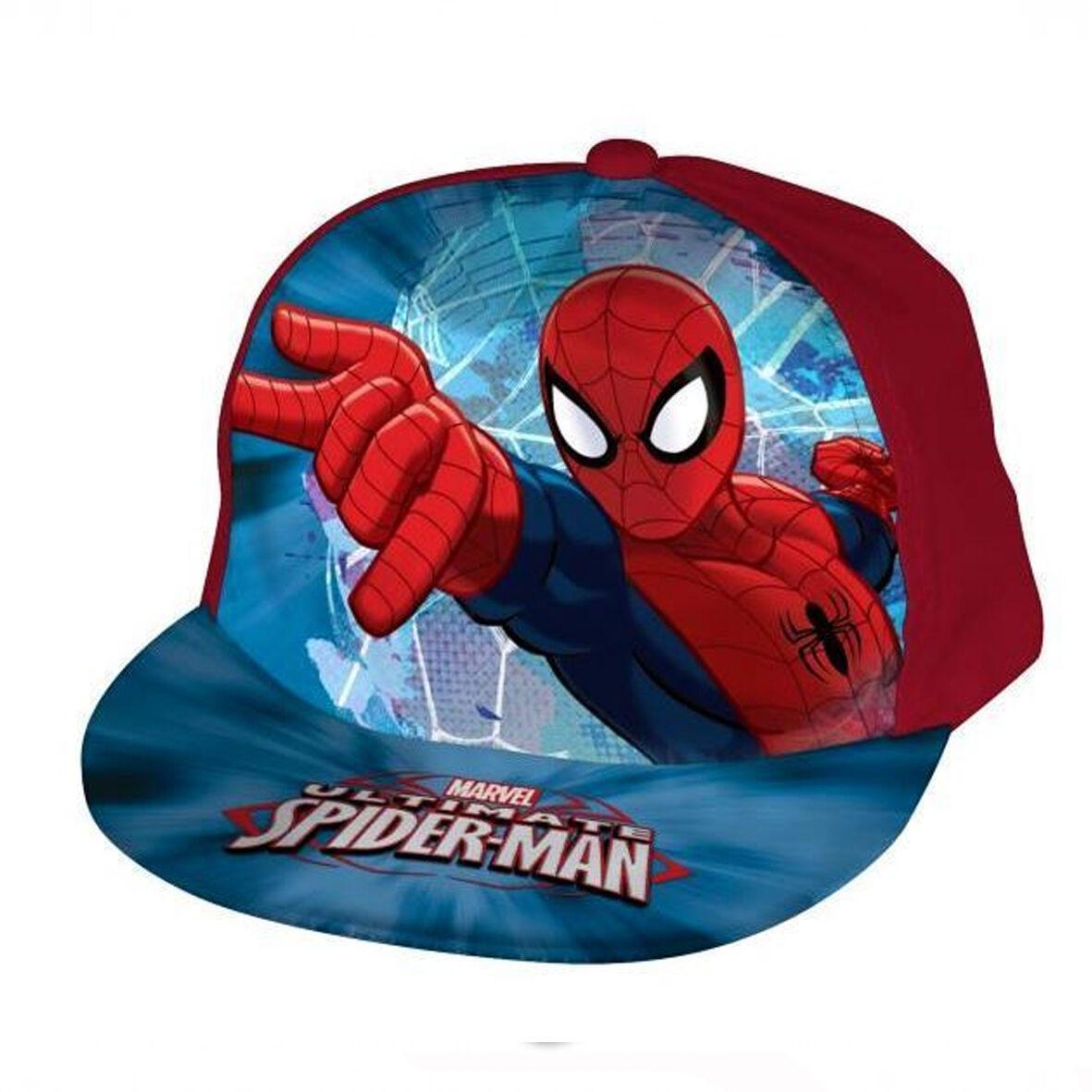 SPIDERMAN cappello con visiera 100% morbido cotone rosso regolabile con strappo