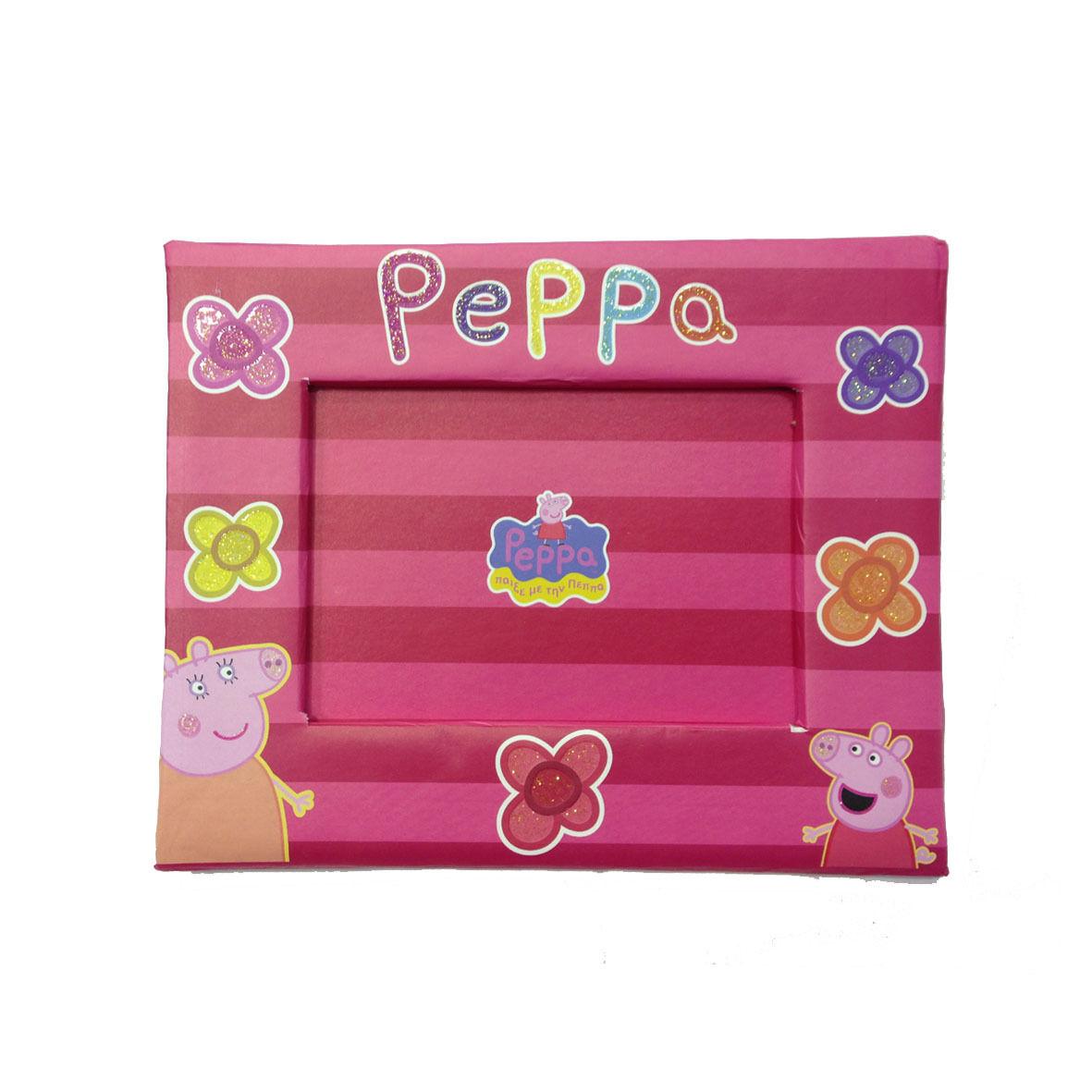 PEPPA PIG cornice fucsia e rosso con fiori glitter in cartone pressato 19x15,5cm