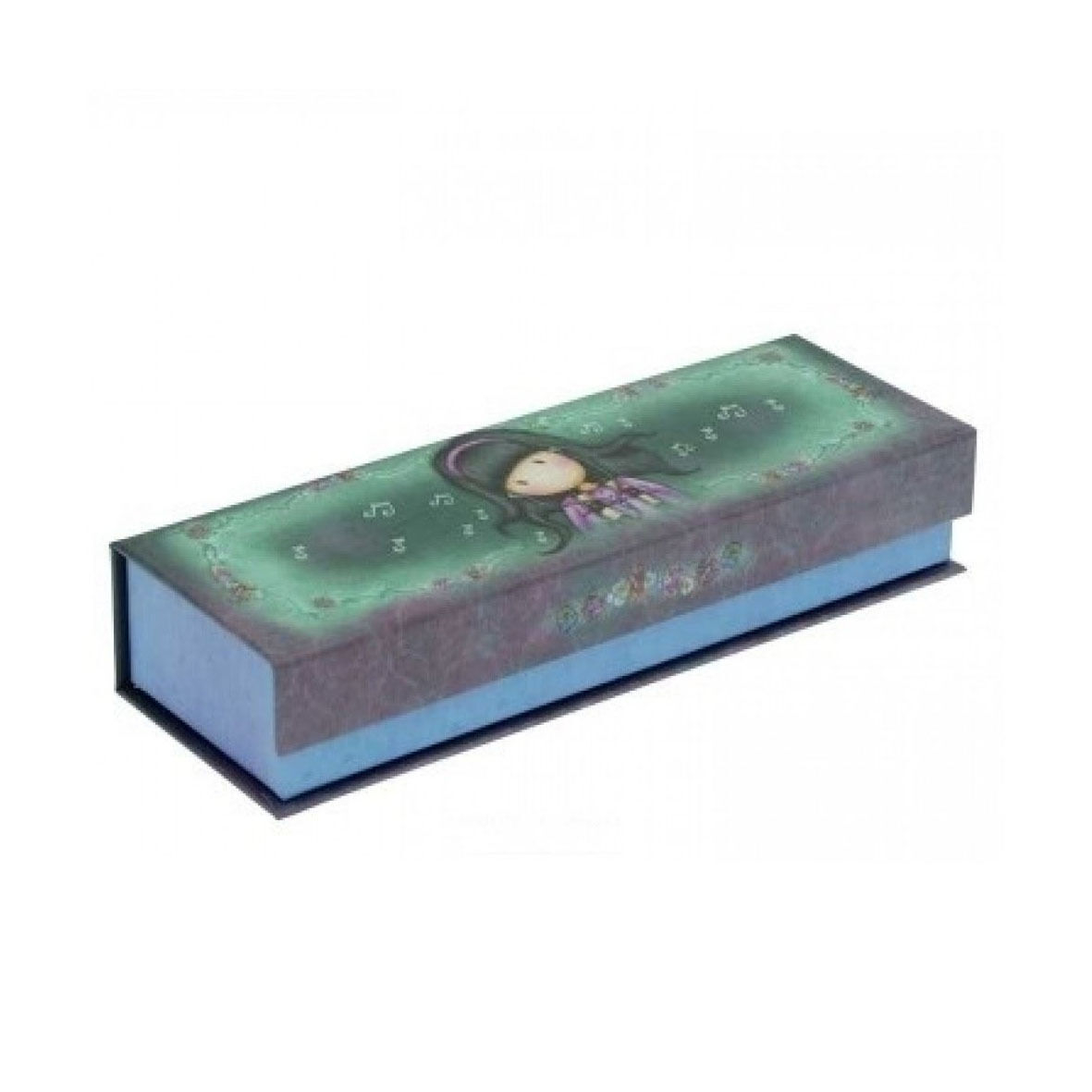 GORJUSS Portapenne e matite pencil box in cartone stampato viola-verde 20x7x4 cm