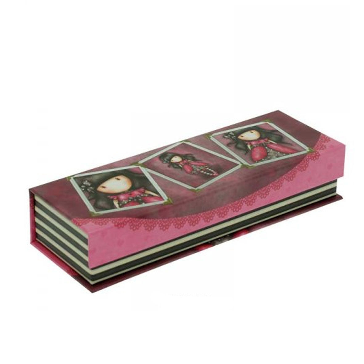 GORJUSS Portapenne e matite pencil box in cartone stampato fucsia 20x7x4 cm