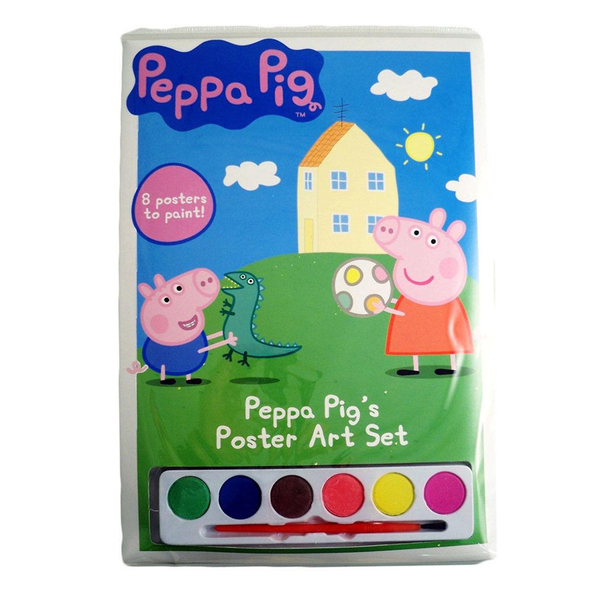 PEPPA PIG 8 fogli da colorare con acquerelli + pennellino idea regalo da bambino