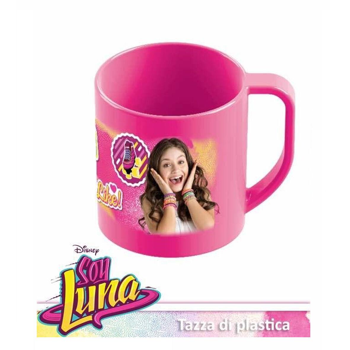SOY LUNA bicchiere tazza mug scuola asilo tempo libero in plastica fucsia8,5x9cm