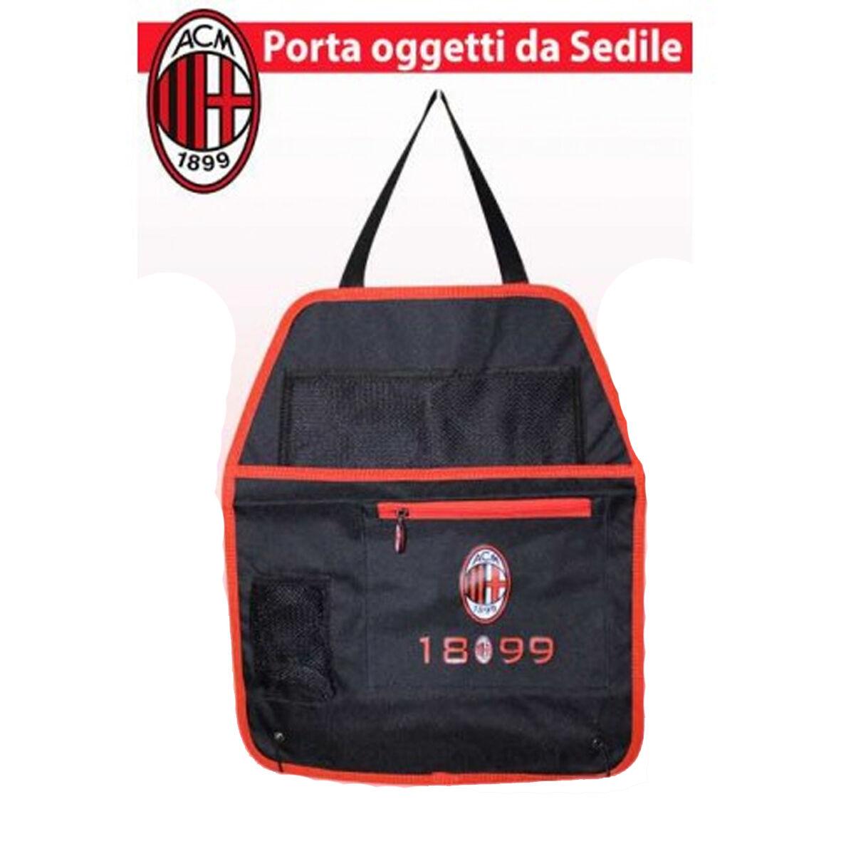 MILAN portaoggetti da sedile in tela nero e rosso 3 tasche prodotto ufficiale