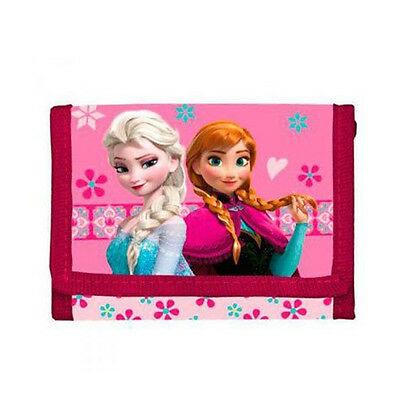 FROZEN portafoglio con strappo ANNA E ELSA fucsia 10x12 cm da bambina